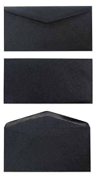 Three Views Of Black Envelope stock photo