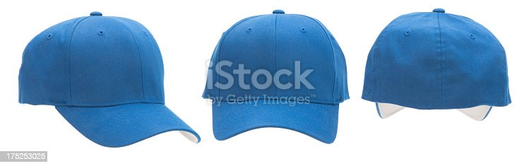 This image has three views of a blue baseball cap: front, back and 3/4 view. The cap is blank with copy space. The background is 255 white.