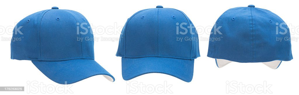 Three views of blank blue baseball cap-isolated on white stock photo