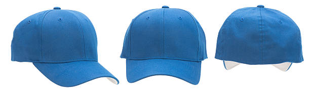 Three views of blank blue baseball cap-isolated on white This image has three views of a blue baseball cap: front, back and 3/4 view. The cap is blank with copy space. The background is 255 white. baseball cap stock pictures, royalty-free photos & images