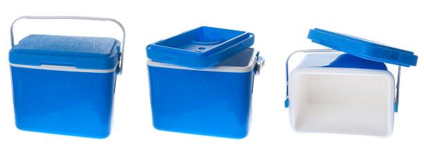 Three views of Blue cooler box with handle stock photo