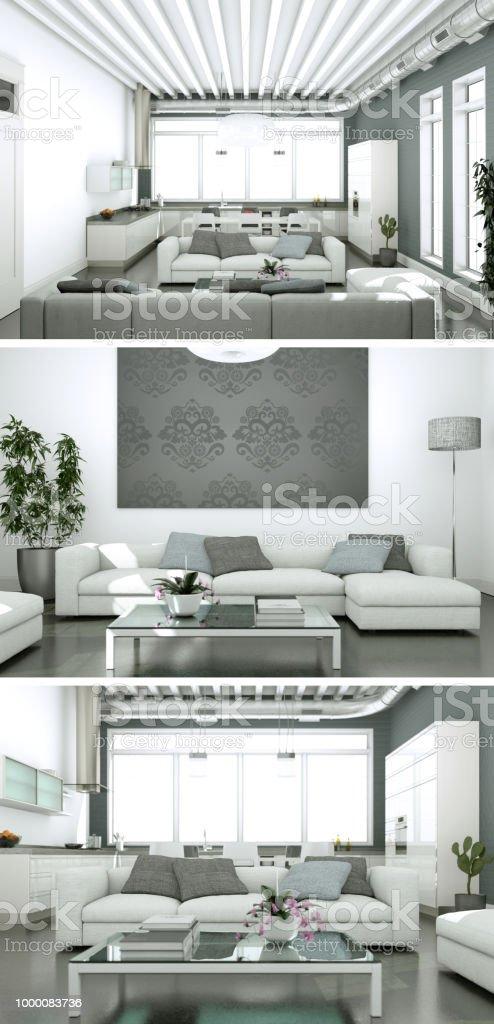 Drei Ansichten Des Modernen Interieurs Loft Design Stockfoto ...