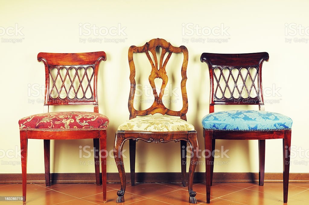 Three Vintage Chairs stock photo