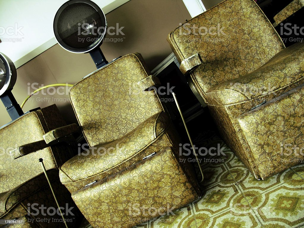 Three Vintage Hair Dryers at a Salon royalty-free stock photo
