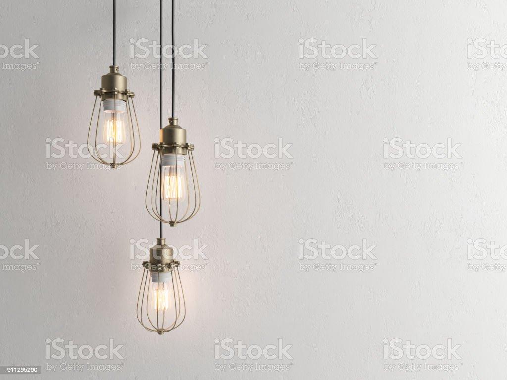 Trois lampes vintage suspendus au plafond avec mur 3D renderind photo libre de droits