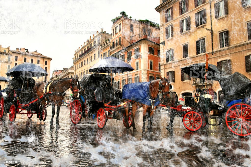 Three walking horse carriages in tourist Rome in a snowfall. stock photo