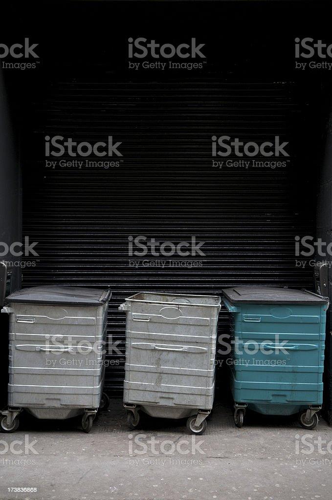 Three Waste Bins w Copy Space stock photo