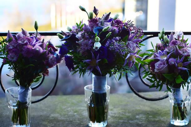 three wedding bouquets stock photo
