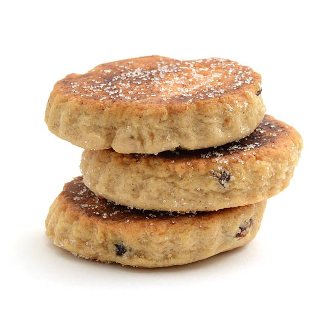 Three Welsh cakes Three Welsh cakes, isolated on a white background. welsh culture stock pictures, royalty-free photos & images