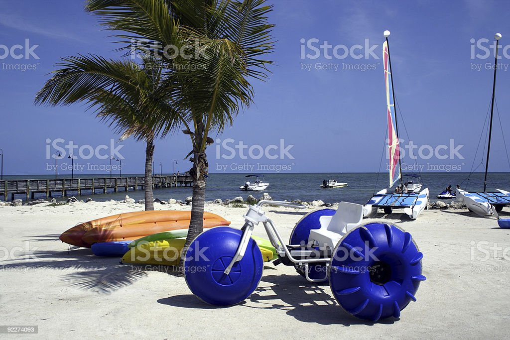 Three Wheel Ocean Paddle Bike royalty-free stock photo