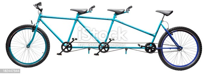 triple tandem blue bicycle over white background