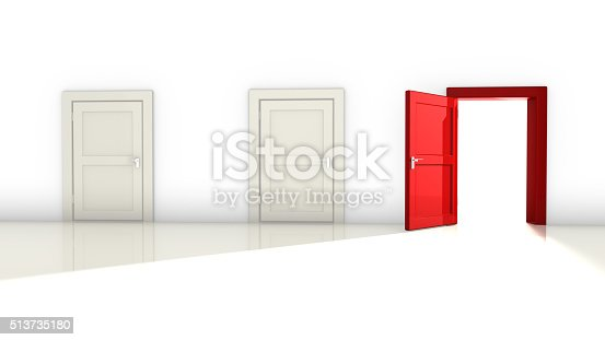 istock Three white and red doors 513735180