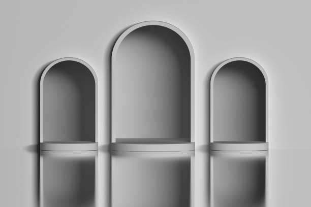 Three white arches stock photo