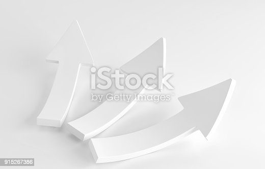 istock Three white arrows laying down on white background. 3d render 915267386