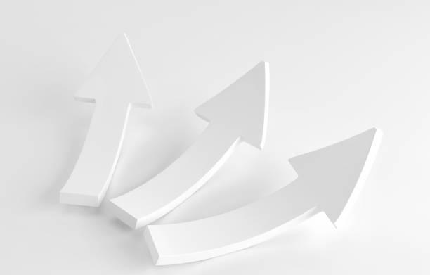 Trois blancs flèches portant sur fond blanc. rendu 3D - Photo