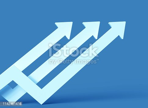 istock Three white arrows pointing up isolated on white 1142451416