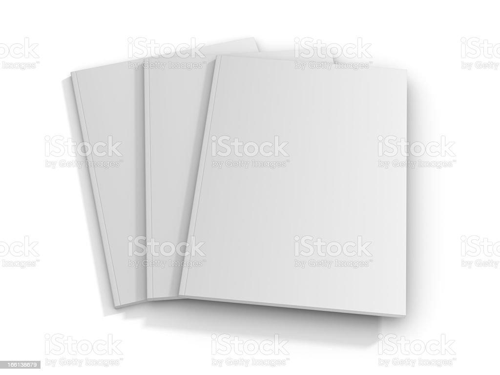 Three white blank magazine covers stock photo