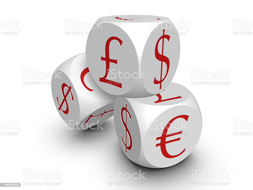 Three white cubes with currency symbols royalty-free stock photo