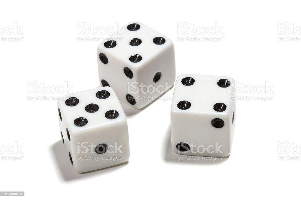 Three white dice royalty-free stock photo