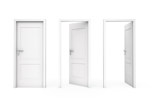 Three white doors, Isolated on white , 3d render