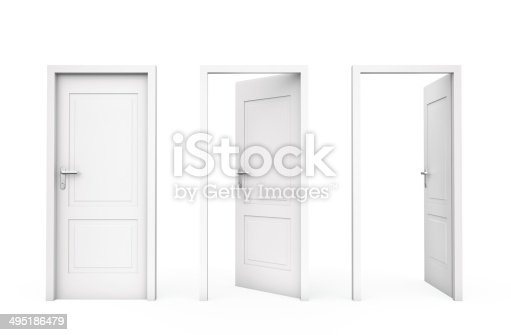 istock Three white doors 495186479