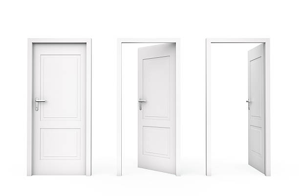 three white doors - open stock photos and pictures
