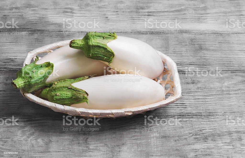 Three white eggplant stock photo