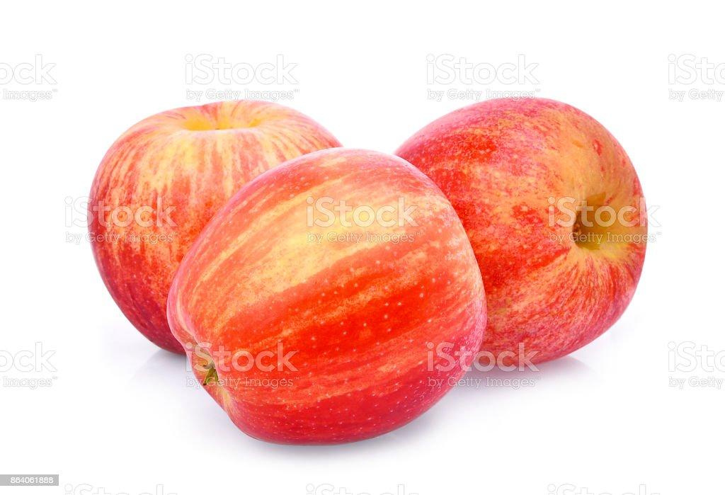 three whole fresh red gala apple isloated on white background stock photo