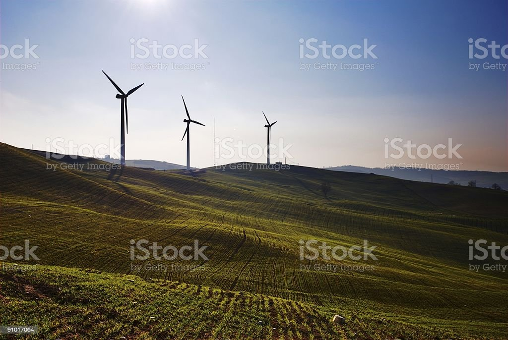 Three wind turbines royalty-free stock photo