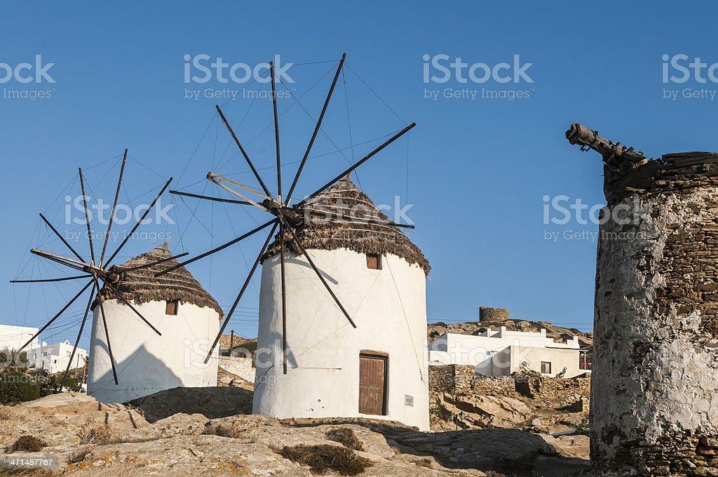 Three Windmills, Ios, Cyclades, Greece stock photo