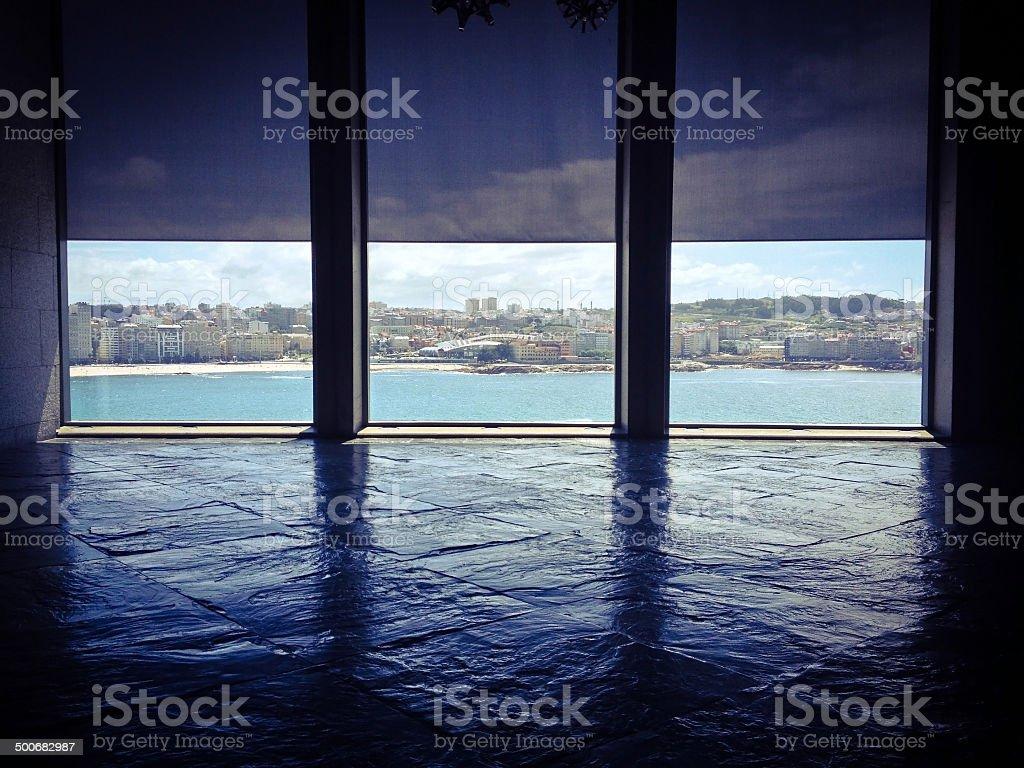 Three windows stock photo