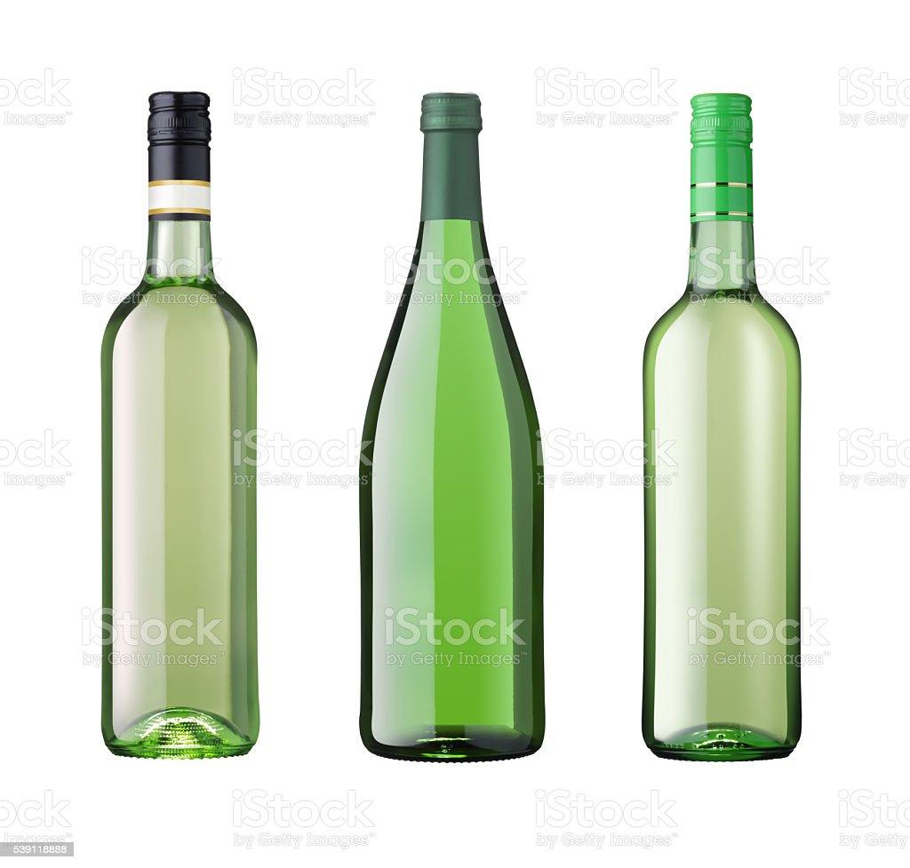 Three wine bottles white wine isolated on white