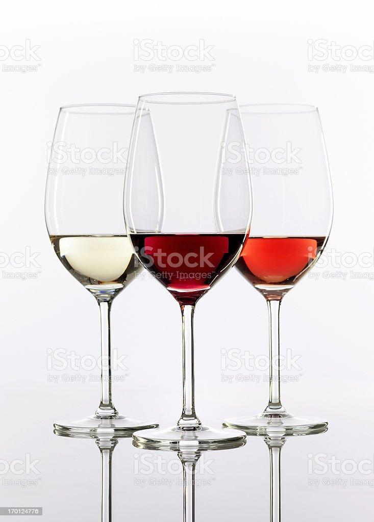 three wineglasses with wine royalty-free stock photo