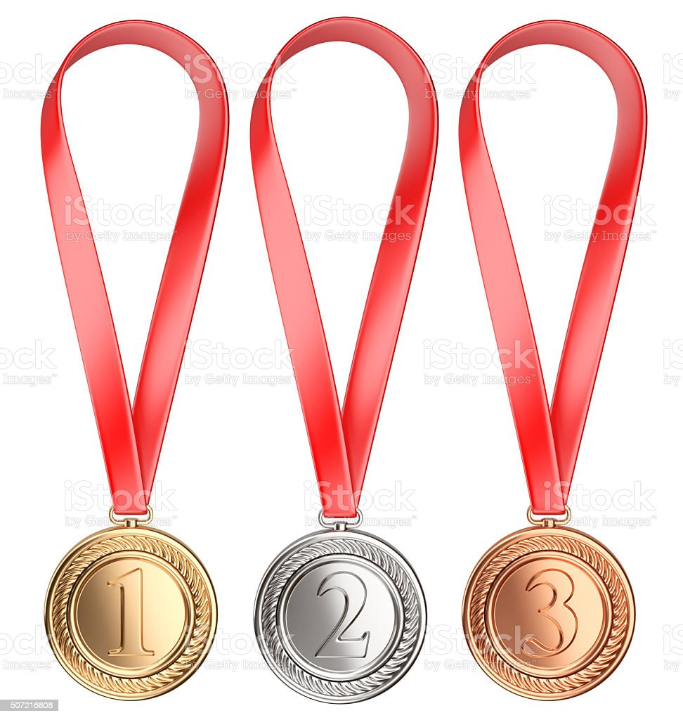Three winning places concept. Medals with Ribbon stock photo