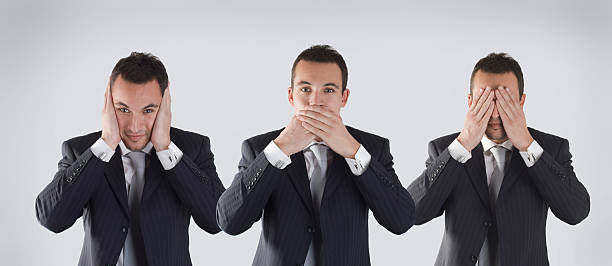 three wise businessman  hear no evil stock pictures, royalty-free photos & images