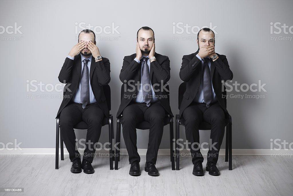 three wise businessman stock photo
