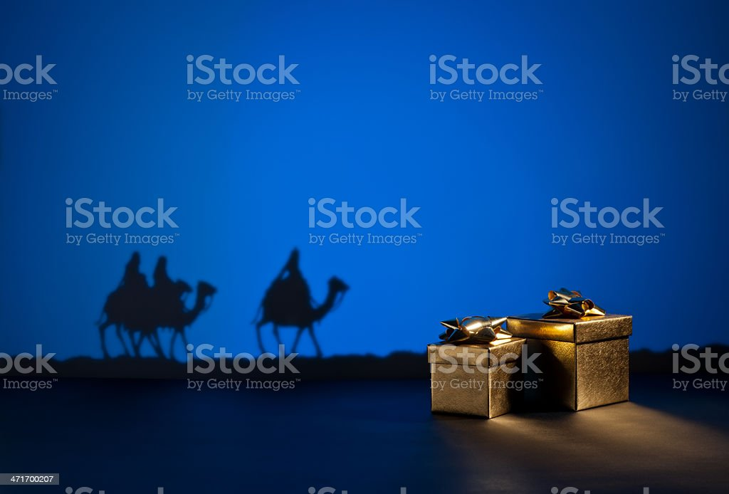Three wise men and presents stock photo
