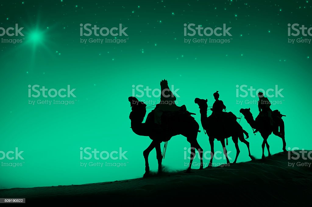 Three Wise Men Camel Travel Desert Bethlehem Concept stock photo