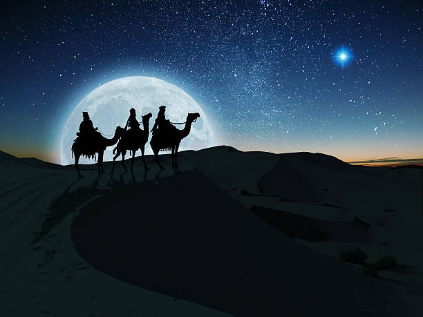 Three Wise Men The Three Wise Men follow the Star of Bethlehem on their journey to the birth of Christ north star stock pictures, royalty-free photos & images