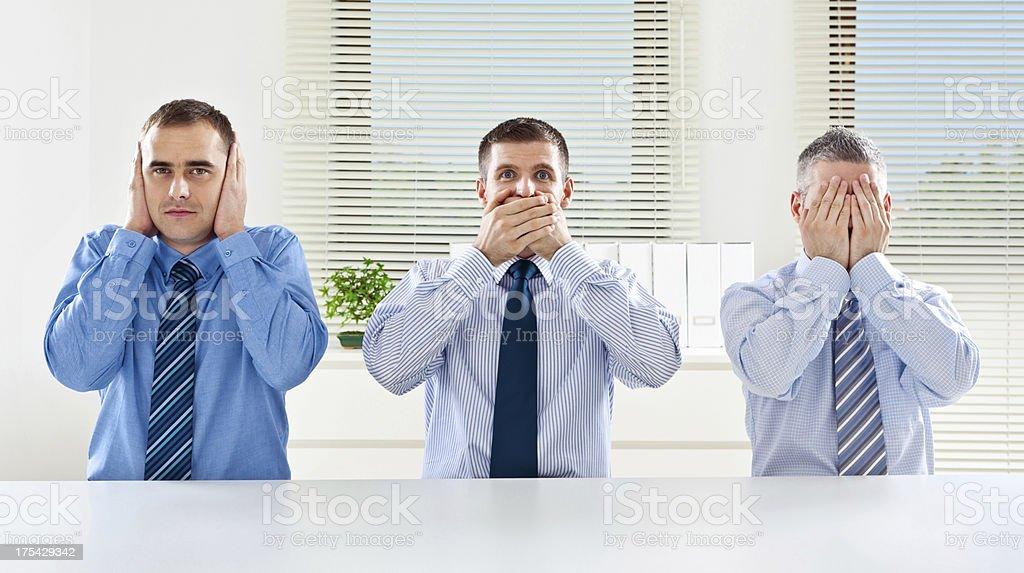 "Three wise monkey - business concept ""Three businessmen posing like three wise monkeys: hear no evil, speak no evil, see no evil."" 30-34 Years Stock Photo"