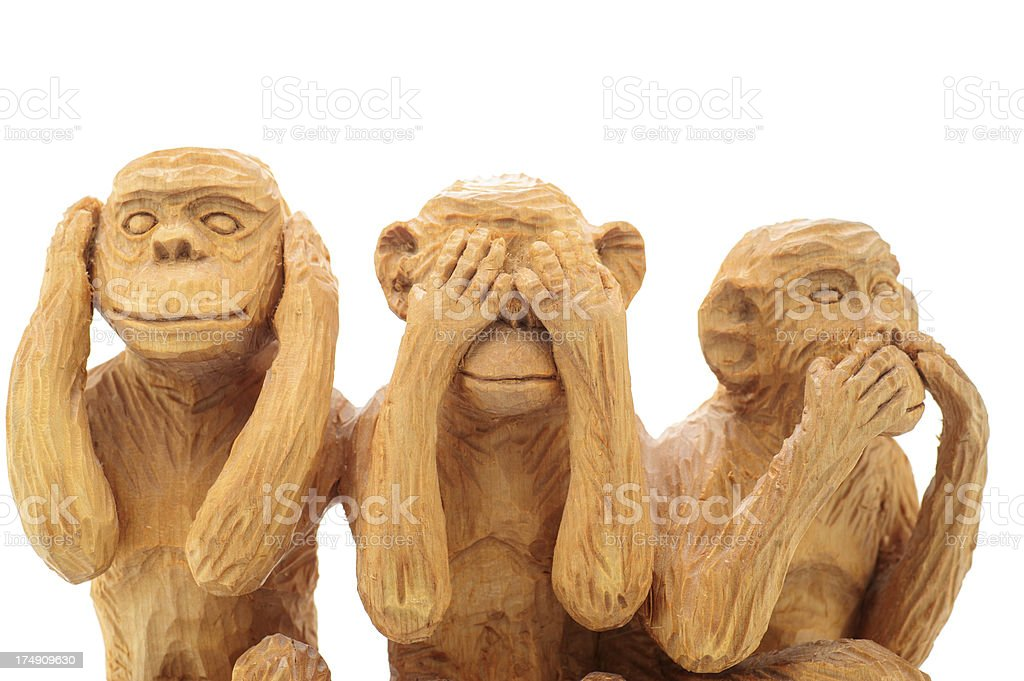 Three Wise Monkeys - Handmade stock photo