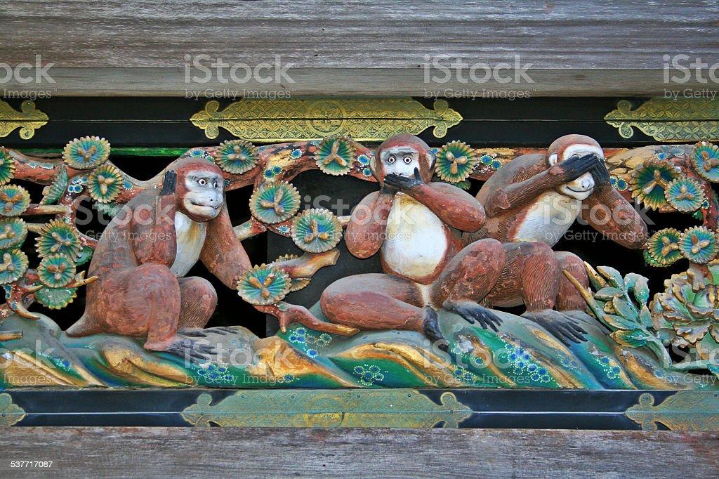 Three wise monkeys - Hear, Speak and See No Evil. stock photo