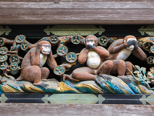 Three  Wise  Monkeys,  Nikko, Japan. Nikko, Tochigi, Japan - May 05, 2009: Three Wise Monkeys (Hear No Evil, Speak No Evil, See No Evil). Famous wooden carving   above the gate to the sacred stables at  the Toshogu  sanctuary in Nikko. hear no evil stock pictures, royalty-free photos & images