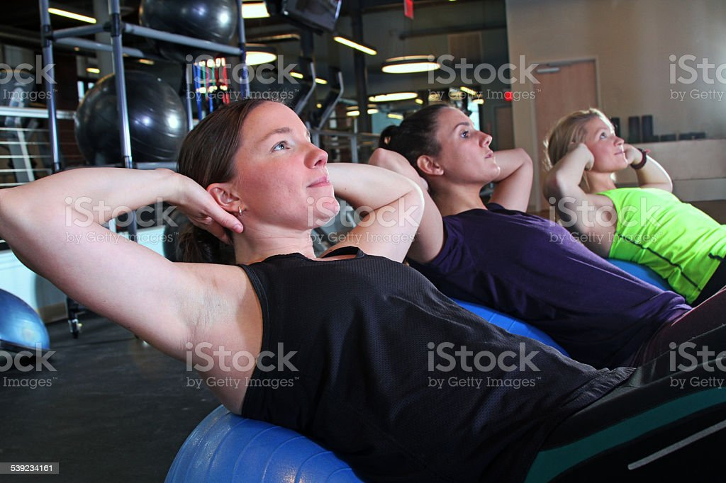 three woman exercising together royalty-free stock photo