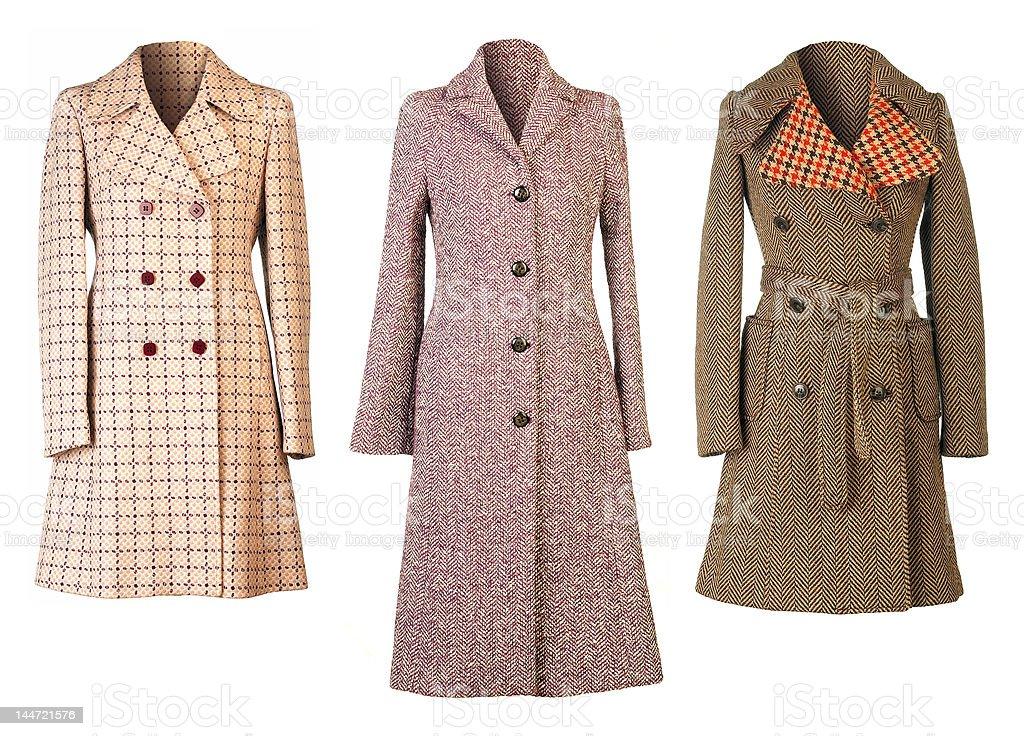 Three woman fall coats cut out stock photo