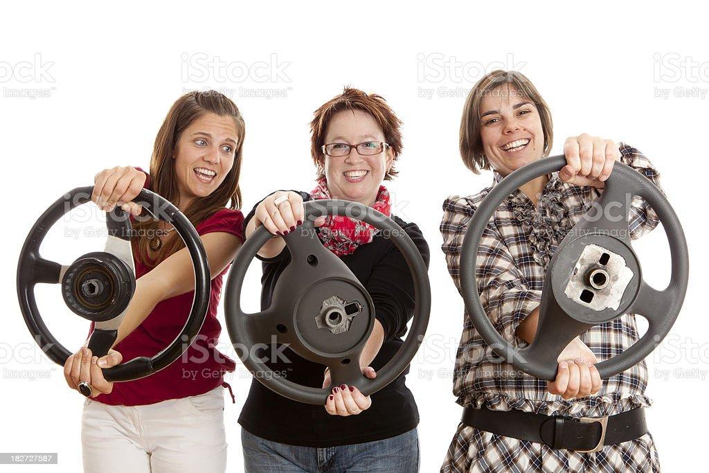 Three women driving royalty-free stock photo