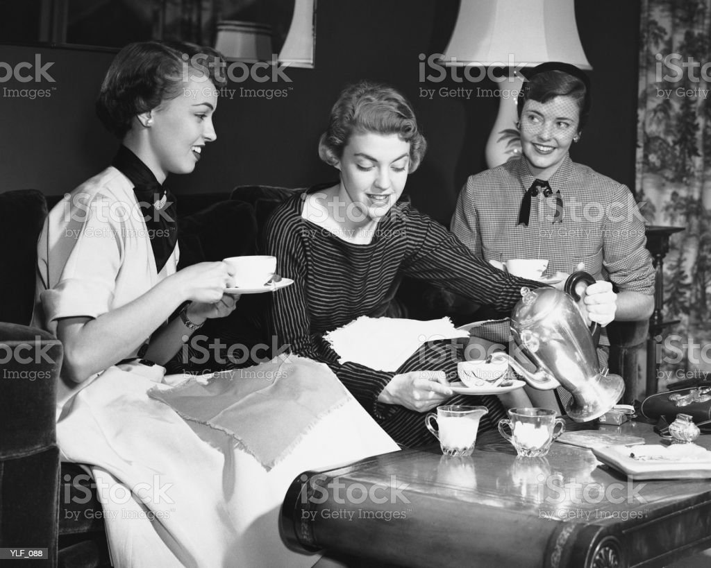 Three women having tea royalty-free stock photo