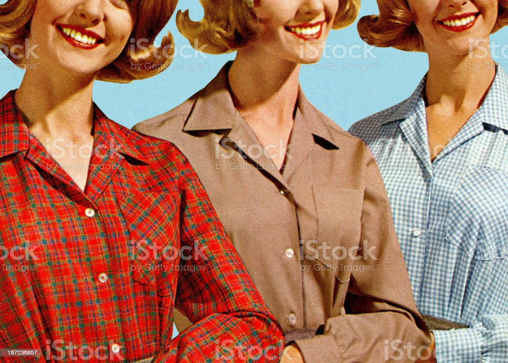 Three Women Wearing Different Blouses stock photo