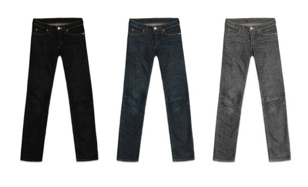 three womens jeans pants, in black, blue and grey, isolated on white background - jeans stock photos and pictures