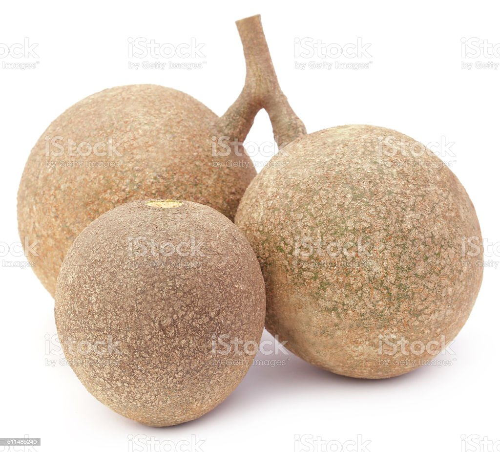 Three wood apples or kod bel of Southeast Asia stock photo